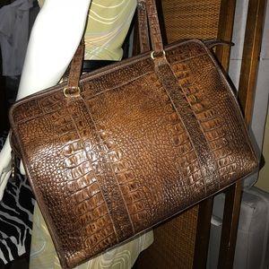 Vintage Brahmin Croc Embossed Business Tote Bag